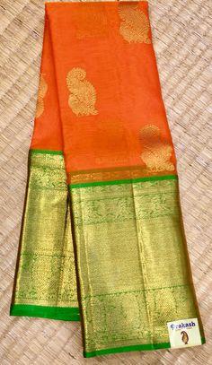 Organza saree with equal borders from prakashsilks.