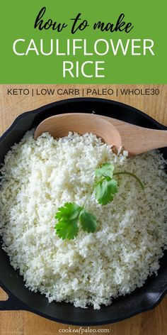 How to make cauliflower rice and stock your refrigerator or freezer with a ready-to-cook, 5-minute keto, low carb, paleo, Whole30 side dish that will go with just about anything. #cauliflower #paleo #glutenfree #cookeatpaleo
