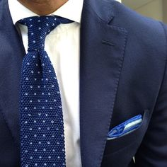 Muji blue knit tie knitted