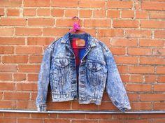 Levi's Grunge 1970's Women's Denim Jacket w/ Plaid Lining - Medium / Levi Strauss Acid Wash / Stone Wash