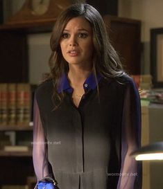 Zoe's black shirt with sheer sleeves and blue collar/cuffs on Hart of Dixie.  Outfit Details: http://wornontv.net/12333/ #HartofDixie