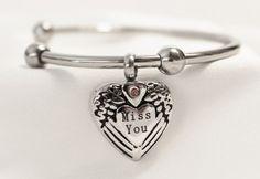 Stainless Steel Miss You Cremation Keepsake Charm Bracelet with Fill Kit. Charm Bracelet