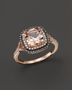 Morganite, White Diamond and Brown Diamond Ring in 14K Rose Gold | Bloomingdale's