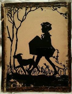 Reverse Painted Silhouette Coach Party Guests Horses Framed Under Glass Decorative Arts Antiques