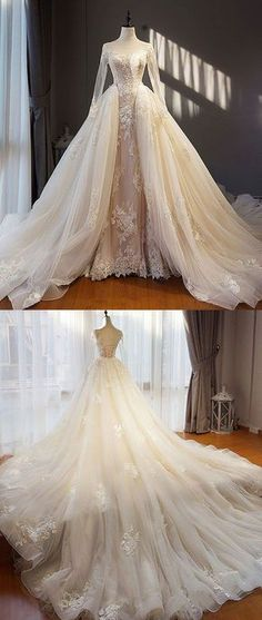 Unique Champagne Tulle Lace Long Prom Dress, Champagne Wedding Dress,Custom Made,Party Gown,Cheap Evening Dress Dream Wedding Dresses, Bridal Dresses, Wedding Gowns, Bridesmaid Dresses, Formal Wedding, Dresses Dresses, Long Dresses, Wedding Shoes, Wedding Unique