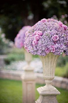 Atlanta Botanical Garden wedding ceremony Rose Garden large mounds monochromatic lavender hydrangea roses urns pedestals detail photo