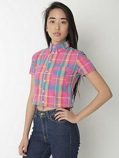 Plaid Cropped Short Sleeve Button Down Shirt