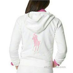 Ralph Lauren Pink Pony SWEATSHIRT White zip up hoodie. Very good condition. Ralph Lauren Tops Sweatshirts & Hoodies