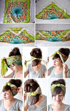How to make a headband wrap out of a square scarf. I've been looking for a step-by-step pic like this FOREVER!