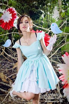 Alice in Wonderland Dress Baby Blue Sweetheart Neklace Frill Chiffon on Etsy, $135.00