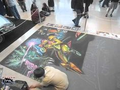 Metroid: Other M chalk art for Nintendo at the Penny Arcade Expo by illustrator Eric Maruscak.