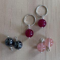 Silver Sleepers & Cherry Quartz, Hematite, Malay Jade Fuchsia Earrings
