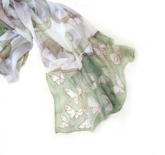 Hand painted silk scarf Mint ButterflyHand painted by klaradar