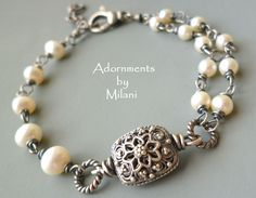 Pearl Bracelet Vintage Inspired Double by adornmentsbymilani