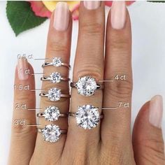 Engagement ring guide: Diamond size comparison.