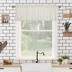 CAROMIO Valance Curtains for Bathroom, Embossed Textured Soft Microfiber Tailored Kitchen Curtain Valances for Windows, Cream, 60×15 Inches Bathroom Window Curtains, Tier Curtains, Bathroom Windows, Cafe Curtains, Valance Curtains, Kitchen Windows, Country Curtains, White Faux Wood Blinds