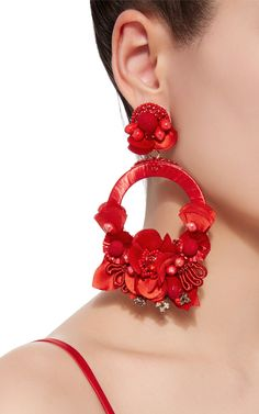 Red Large Floral Drop Earrings by RANJANA KHAN Now Available on Moda Operandi
