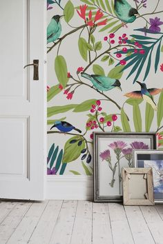 Love this illustrated wallpaper design. Beautiful and exotic birds showcase their colourful feathers while trying to nip at the shiny red berries. It's perfect for hallway spaces and would look delightful in the kitchen. Bird Illustration, Wall Wallpaper, Kitchen Wallpaper, Bright Wallpaper, Frozen Wallpaper, Interior Wallpaper, Retro Wallpaper, Modern Wallpaper, Wallpaper Quotes