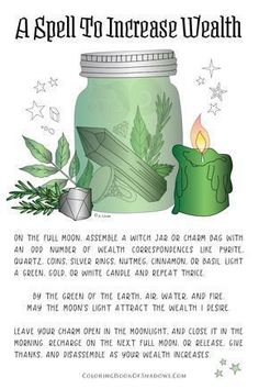 Wicca for beginners Witch Spell Book, Witchcraft Spell Books, Green Witchcraft, Jar Spells, Magick Spells, Wiccan Spells Money, Hoodoo Spells, Spells For Money, Powerful Money Spells