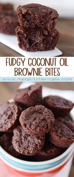 Coconut Oil Brownie Bites These Fudgy Coconut Oil Brownie Bites are so fast and easy. They are perfect to whip up for any occasion!These Fudgy Coconut Oil Brownie Bites are so fast and easy. They are perfect to whip up for any occasion! Köstliche Desserts, Healthy Desserts, Delicious Desserts, Dessert Recipes, Yummy Food, Delicious Chocolate, Hostess Cupcakes, Brownies Coconut Oil, Breads