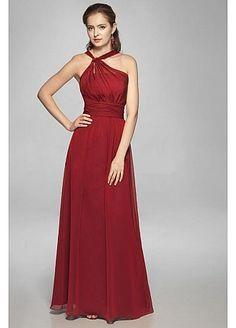A-line Halter Chiffon Floor-length Red Belt Prom Dress at Millybridal.com