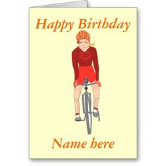 Racing Cyclist, woman add name and text Cards  http://www.zazzle.com cardshere*