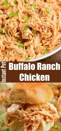 Amazing shredded chicken made with buffalo sauce and ranch mix for a great flavor combination. It's easily made in an Instant Pot and very versatile to use. Buffalo Ranch Chicken, Shredded Buffalo Chicken, Buffalo Chicken Recipes, Shredded Chicken Tacos, Shredded Chicken Recipes, Recipes With Buffalo Sauce, Chicken Dips, Chicken Curry, Recipes