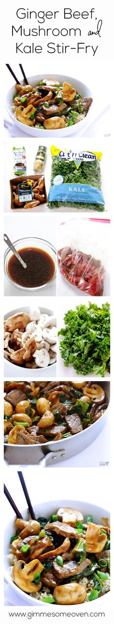 Ginger beef, mushroom and kale stir fry. This quick and easy stir fry is full of fresh and healthy ingredients everyone will love! Stir Fry Recipes, Beef Recipes, Cooking Recipes, Healthy Recipes, Ginger Beef, Beef Dishes, Snack, I Love Food, Asian Recipes