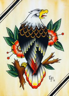 Traditional Eagle Tattoo Flash PRINT by ChristinaPlatis on Etsy
