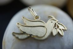 Vintage Art Deco Solid Gold 14k Karat Yellow  bird with a branch  Pendants dove Modernist  D by VintageEstate86 on Etsy