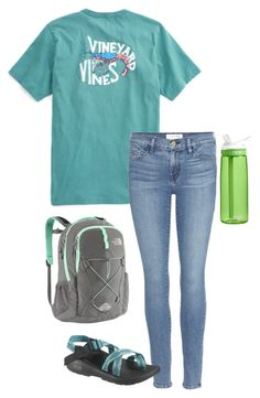 """""""school outfit"""" by sassy-and-southern ❤ liked on Polyvore featuring Frame Denim, Chaco, The North Face and CamelBak"""