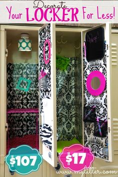Don't spend a fortune! How To Decorate A School Locker For Less. Teens and Tweens are spending a LARGE amount of money on lockers this year. Look for less! Cute Locker Ideas, Diy Locker, Locker Stuff, Girls Locker Ideas, Locker Mirror, School Locker Decorations, Middle School Lockers, Locker Designs, Diy School Supplies