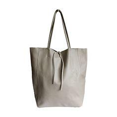Tania Italian Light Grey Leather Shopper Bag - £49.99 Leather Hobo Bags, Leather Shoulder Bag, Shoulder Bags, Grey Leather, Soft Leather, Shopper Bag, Tote Bag, Italian Women, Italian Leather