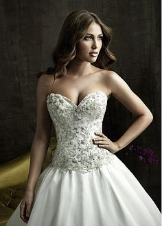Pretty Organza Ball Gown Strapless Sweetheart Neckline Wedding Dress With Embroidery and Beadings by WEDDINGDRESS626