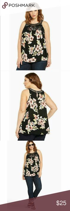 """🌟Floral Print Gauze Crochet Top This multi-color floral print black gauze tank is a girly refresh for your """"I'd rather just wear black"""" mentalities, not to mention it's super airy and comfy. Beautiful crochet detailing lines the bodice, adding a down to earth touch to the warm weather must haves.  Rayon. Wash Cold.   ➡️No Trades. ➡️No lowball offers. ➡️Bundle and save! torrid Tops Blouses"""