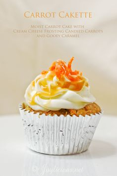 Carrot Cake Cupcakes with cream cheese icing and candied carrots for the topping