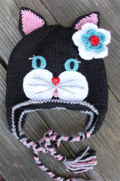 Elegant Crocheted / Knitted Black Kitty Cat by LenasBoutique