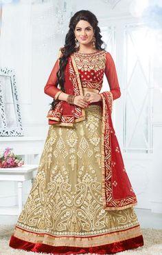 USD 156 Beige Net Jaal Work Wedding Lehenga Choli  36780