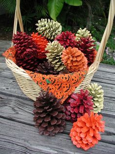 Basket of Painted Pinecones Halloween Decoration Valentine Basket Painted Pink Pinecone Colorful Pinecones Floral Arrangement All Holidays Pine Cone Art, Pine Cone Crafts, Pine Cones, Thanksgiving Crafts, Fall Crafts, Holiday Crafts, Thanksgiving Decorations, Decor Crafts, Holiday Ideas