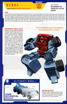 Transformer of the Day: Heave Robo Transformers, Transformers Drawing, Transformers Cybertron, Transformers Characters, Transformer 1, Radio Wave, Super Mario Bros, Manga, Storm Troopers