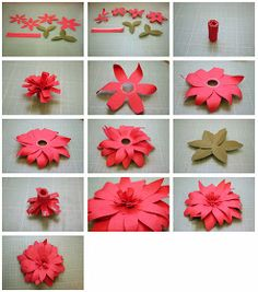 Fringe Flower     Tutorial:     1.  Cut out all the pieces and pinch the leaves on the score lines.  Ink around the edges of the flower pie...