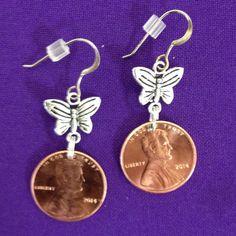 Penny Earrings 2014 with Butterfly Accent  on by AnnPedenJewelry, $5.99