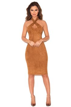House of CB Palmira Tan Suedette Bustier Dress
