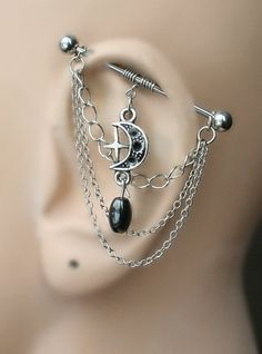 If I were to get an industrial, I would want earrings similar to this.  Industrial Barbell Industrial piercing  Jewelry by triballook
