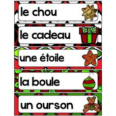 Mots-étiquettes Noël Free In French, French Christmas, French Immersion, Preschool Christmas, Teaching Kindergarten, Christmas Pictures, Naomi, Grand Format, Classroom Resources