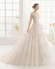 vestido de noiva MONACO de AIRE BARCELONA 2016 estilo princesa em tule e bordados brilhantes