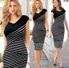 Women's Striped Long Dress - +PLUS SIZES