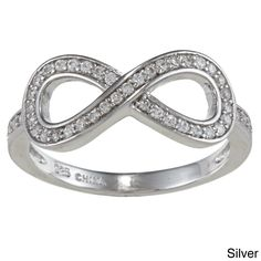 La Preciosa Sterling Silver Cubic Zirconia Infinity Ring (Silver- Size 10), Women's, White