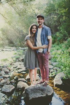 patterned dress + chambray and maroon pants // engagement photo style inspiration