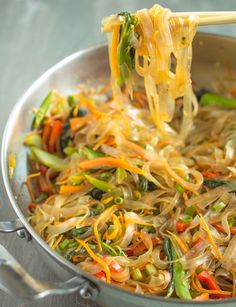 Vegetable Stir Fry Mung Bean Noodles | healthynibblesandbits.com